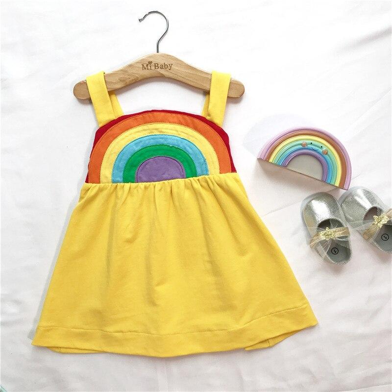 Hot, vestido de Verão vestido da menina do miúdo por atacado Rainbow suspenso vestido vestido da menina das crianças