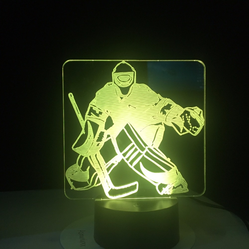 Portero de Hockey sobre hielo 3D de lámpara de Mesa 7 cambio de colores LED luz USB dormitorio dormir iluminación de los aficionados a los deportes regalos de decoración para el hogar