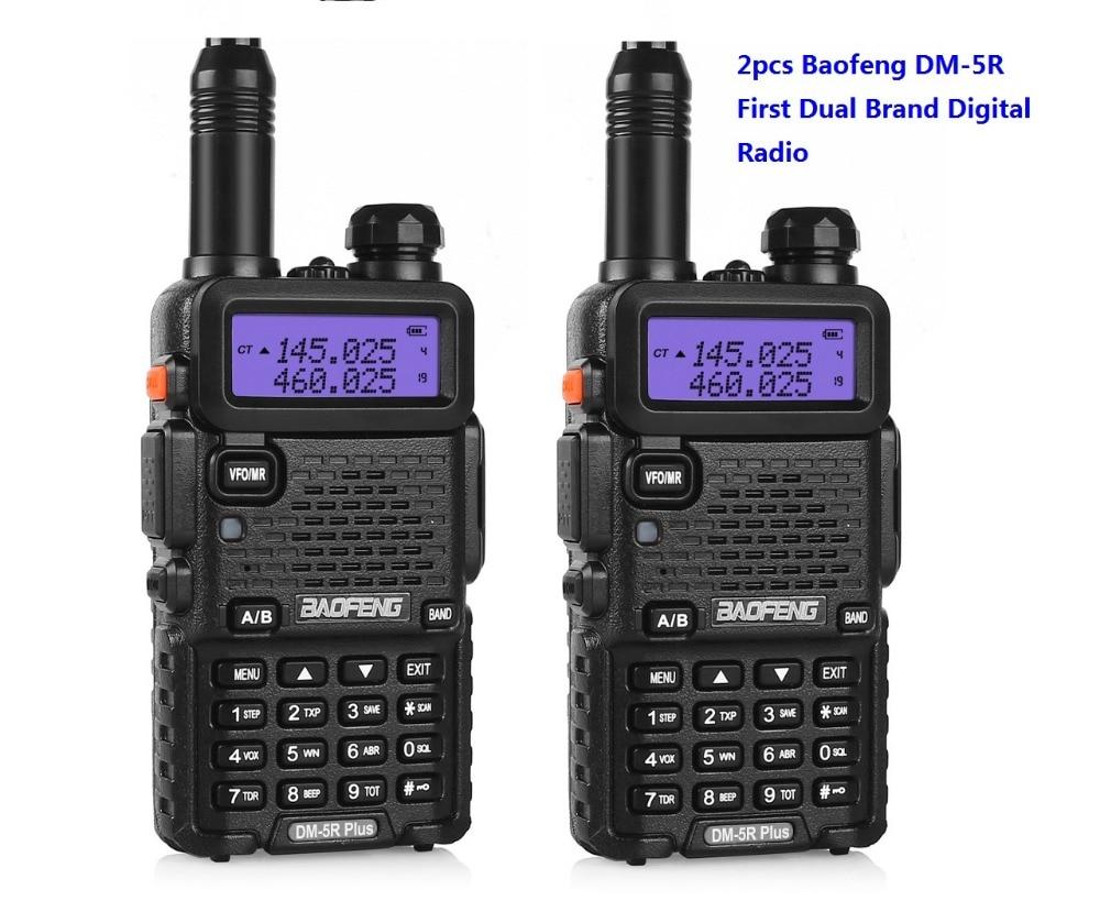 2 قطعة المذياع اللاسلكي الرقمي BAOFENG DM-5R الأولى DMR اتجاهين راديو Dmr راديو التشفير Vhf Uhf المحمول المزدوج الفرقة Cb راديو