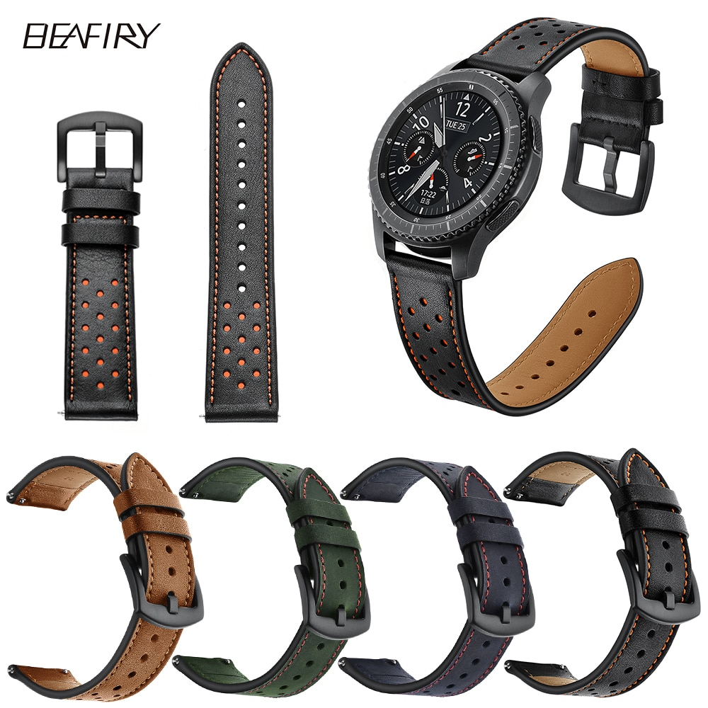 BEAFIRY Hole Design Genuine Leather Watchband Quick Release Band Strap for Samsung /Xiaomi Huami Amazfit watch band 22mm 24mm