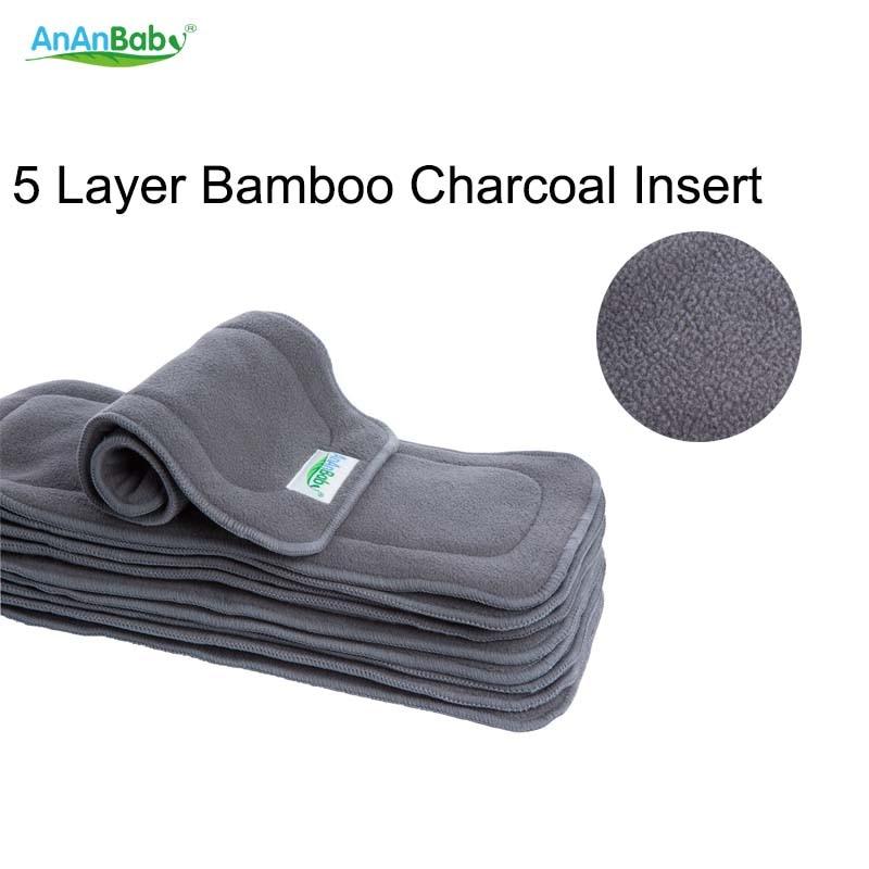 Almohadillas cambiantes reutilizables para bebés, 5 capas, pañales de bambú carbón, inserto superabsorbente, alfombrillas cambiantes, revestimientos aptas para pañales