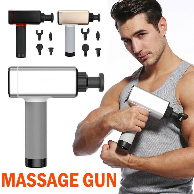 Masajeador de 4 velocidades para relajación profunda muscular 24 V, masajeador eléctrico sin escobillas para terapia de percusión, pistola de masaje para alivio del dolor