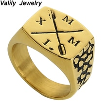 Valily bijoux hommes bague chiffres romains Vintage bague flèche Design bande anneau acier inoxydable or Rose anneaux pour femmes YU5