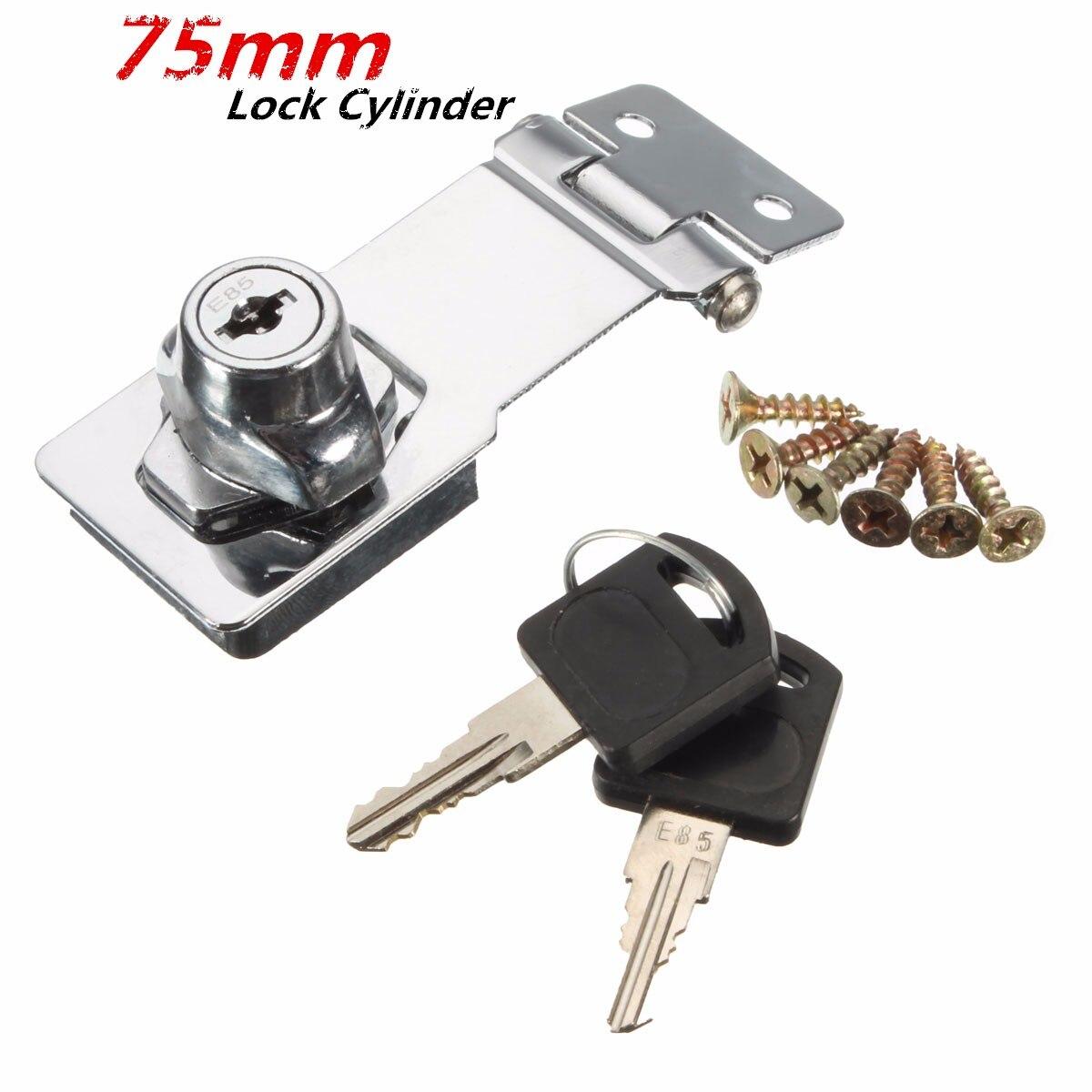 MTGATHER 75mm Stainless Steel Plating Self Locking Security Hasp Staple 2 Keys Lock Shed Cupboard Padlock
