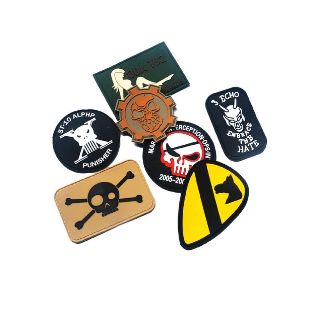 Diez piezas un lote 3D PVC pegamento primera división de la Armada táctico monkey moral magic Seals parche punisher brazalete