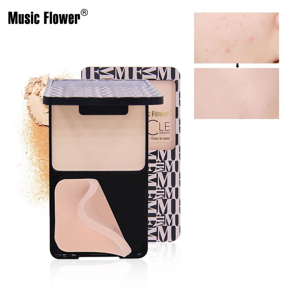 Flor de música en polvo Base de cara prensado maquillaje mate Primer brillo arreglo paleta corrector contorno cosméticos Nude