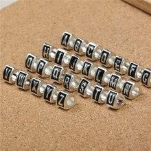 Free Shipping 26pcs/lot Mixed Letter Charms Enamel Greek alphabet Beads Charms Fit European Pandora Snake Chain Bracelets
