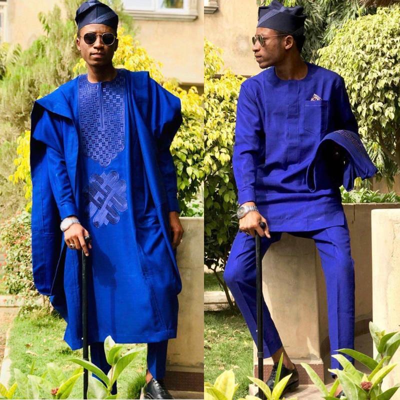 Мужская одежда с вышивкой H & D, без шапки, Дашики, топ, рубашка, брюки, комплект из 3 предметов, традиционный Африканский мужской официальный н...