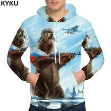 KYKU marque ours sweats hommes vêtements guerre russie sweat pistolet 3d sweat à capuche pour homme sweats homme capuche