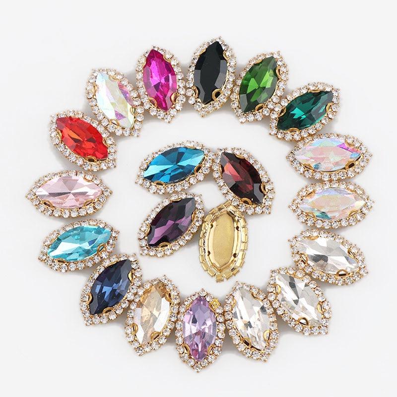 Olho de cavalo base de ouro costurar com pedra de vidro colorido garra cristal fivela cabochão base diy jóias roupas charme