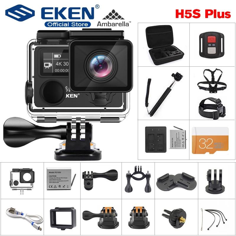 EKEN H5S زائد 4K 30fps عمل كاميرا HD EIS مع Ambarella A12 رقاقة داخل 30m للماء 2.0 'تعمل باللمس الرياضة كاميرا
