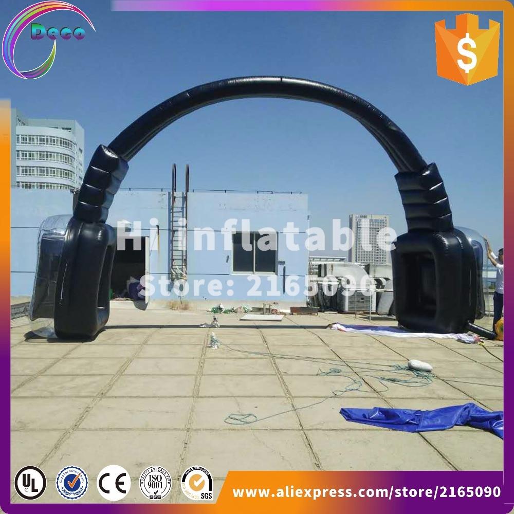 Nuevo diseño de auriculares inflables de 10m de ancho, auriculares gigantes, arco inflable