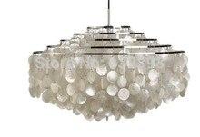 Moderne Kronleuchter Weiß Capiz Shell Lampenschirm Lüster Anhänger Lampen Wohnzimmer Hängen Lampe Leuchten E27 Dia70cm ZDD0074