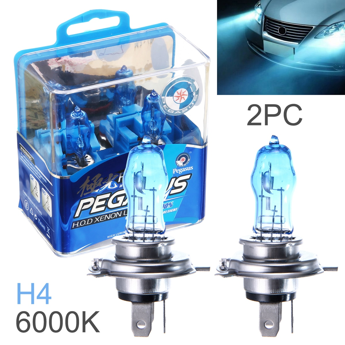 2 Pcs DC 12V H4 100W 6000K White Light Super Bright Car HOD Halogen Bulbs Auto Front Headlight Lamp External Lights for Cars