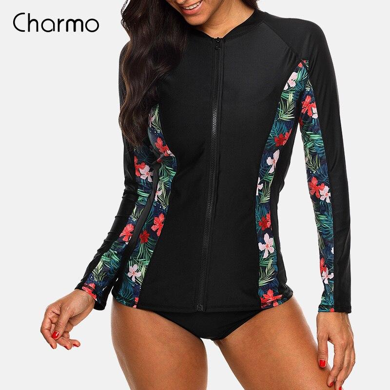 Женский купальный костюм Charmo, с длинным рукавом и застежкой-молнией, с цветочным принтом, с принтом, топ для серфинга, Рашгард, для бега, UPF50 +