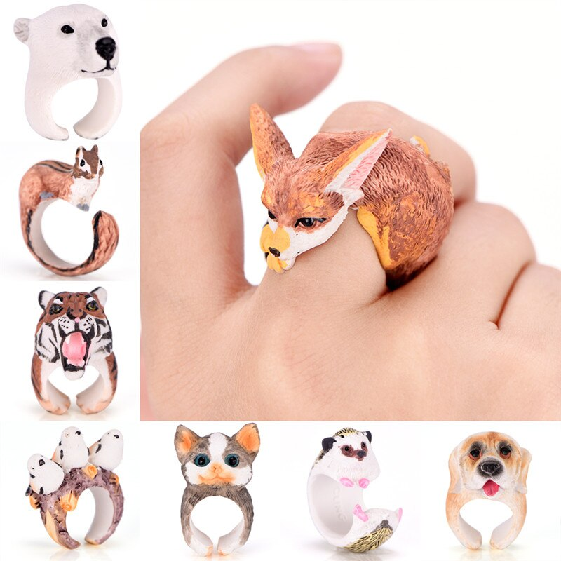 Nuevo 8 tipos de anillos de animales mono Rana pájaro perro zorro conejo erizo Panda mujeres hombres lindo dibujo 3D abierto Cuff Animal anillo