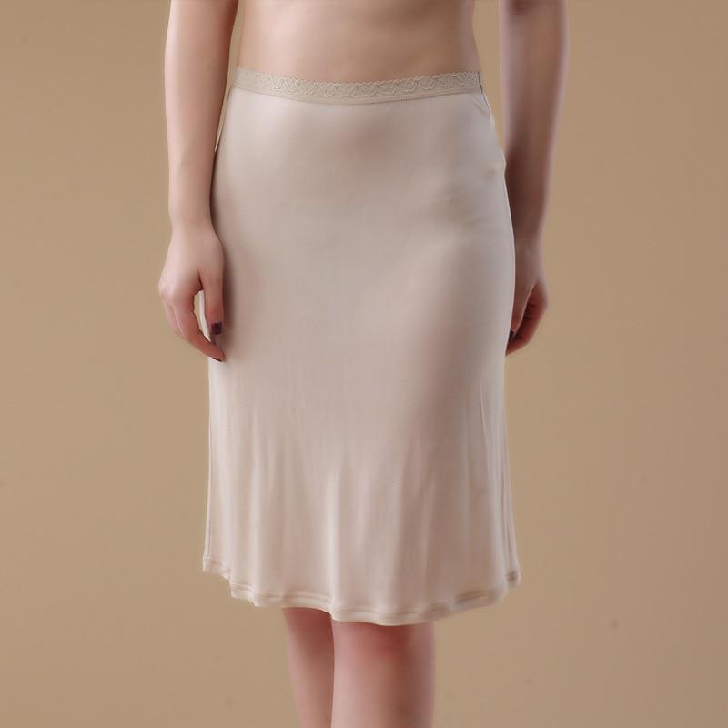 100% Pure Silk Womens Half Slips Sexy Slim Fit Female Silk Underskirts Solid Soft Petticoat Slip for Woman WS126