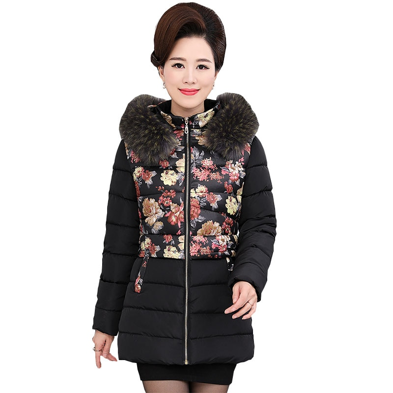 Middle age Ukraine Plus size Fur collar Winter Women Down Cotton Coat Parka 2017 Hooded Thicker Femme Fashion Female Jacket Z211