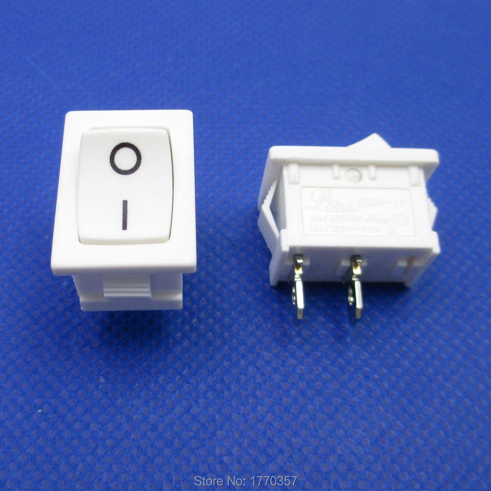 5 unids/lote 2 pines ON/OFF I/O 21*15mm en Mini interruptor basculante de barco 6A 250VAC 10A 125VAC nuevo de alta calidad negro blanco