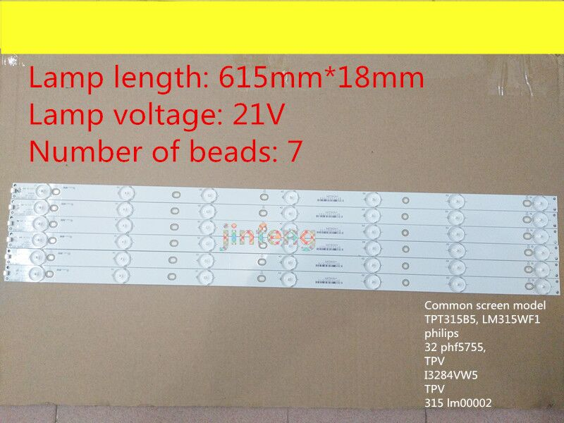 Tira de luz de fondo de TV LED auténtica de 10 piezas para GJ-2K16 D2P5-315 D407-V1.2 (17mm) pieza de repuesto de reparación 7 LEDs 61,4 cm