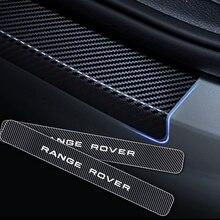 Autocollant de protection de seuil de porte de voiture   Pour Land Rover Range Rover Fiber de carbone, autocollants en vinyle, accessoires de 4 pièces