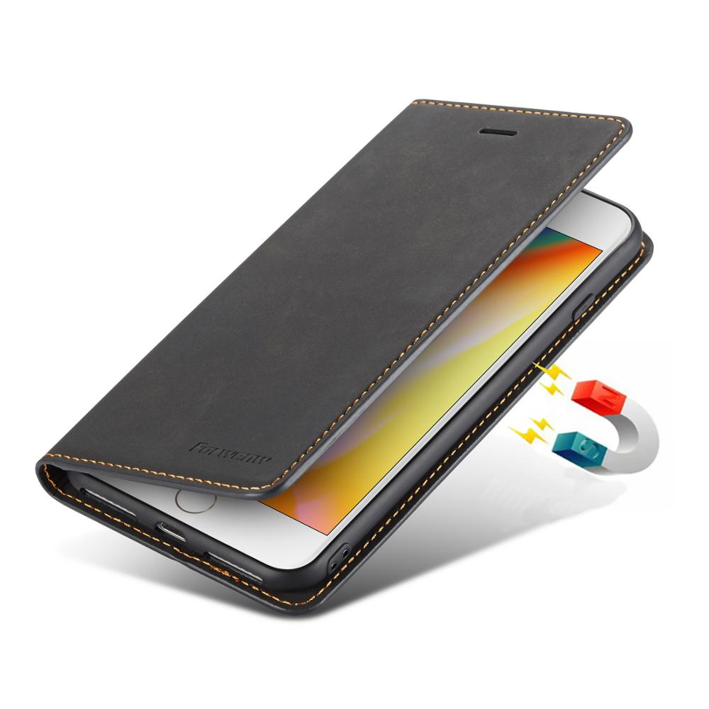 Funda de cuero PU para iPhone 7 8 Plus 6 S 6 S 7Plus 8 Plus, funda de teléfono magnética de lujo Retro con tapa tipo billetera para iPhone XR X S XS Max