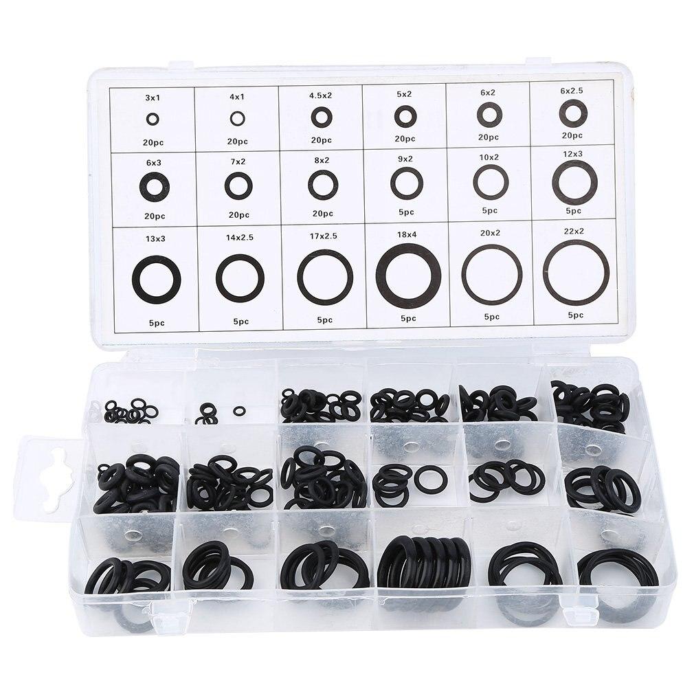 Nueva herramienta Universal 18 tamaños 225 x junta tórica de goma arandela de lavadora sellos automotrices surtido negro para coche