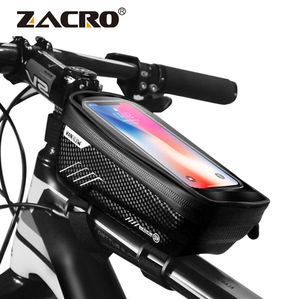 Bolsa de bicicleta impermeable delantera bicicleta ciclismo bolsa 6,2 pulgadas teléfono móvil bicicleta Top tubo manillar bolsas montaña ciclismo Accesorios