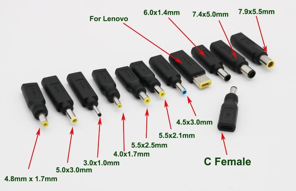 USB 3,1 C hembra a DC 4,0 4.8x1 7mm/5,5x2,1x2,5mm/7,4x5,0mm macho a adaptador de conector para Lenovo Asus HP DELL Lapto