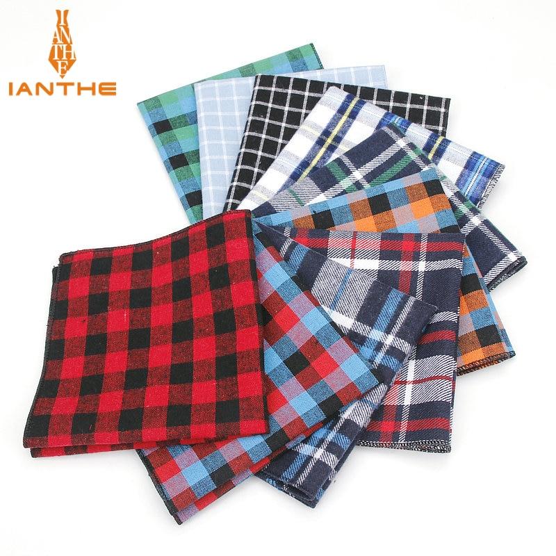 Men's Pocket Square Plaid Pattern Handkerchief Fashion Hanky For Men Business Suits Hankies Vintage Towel Accessories Navy