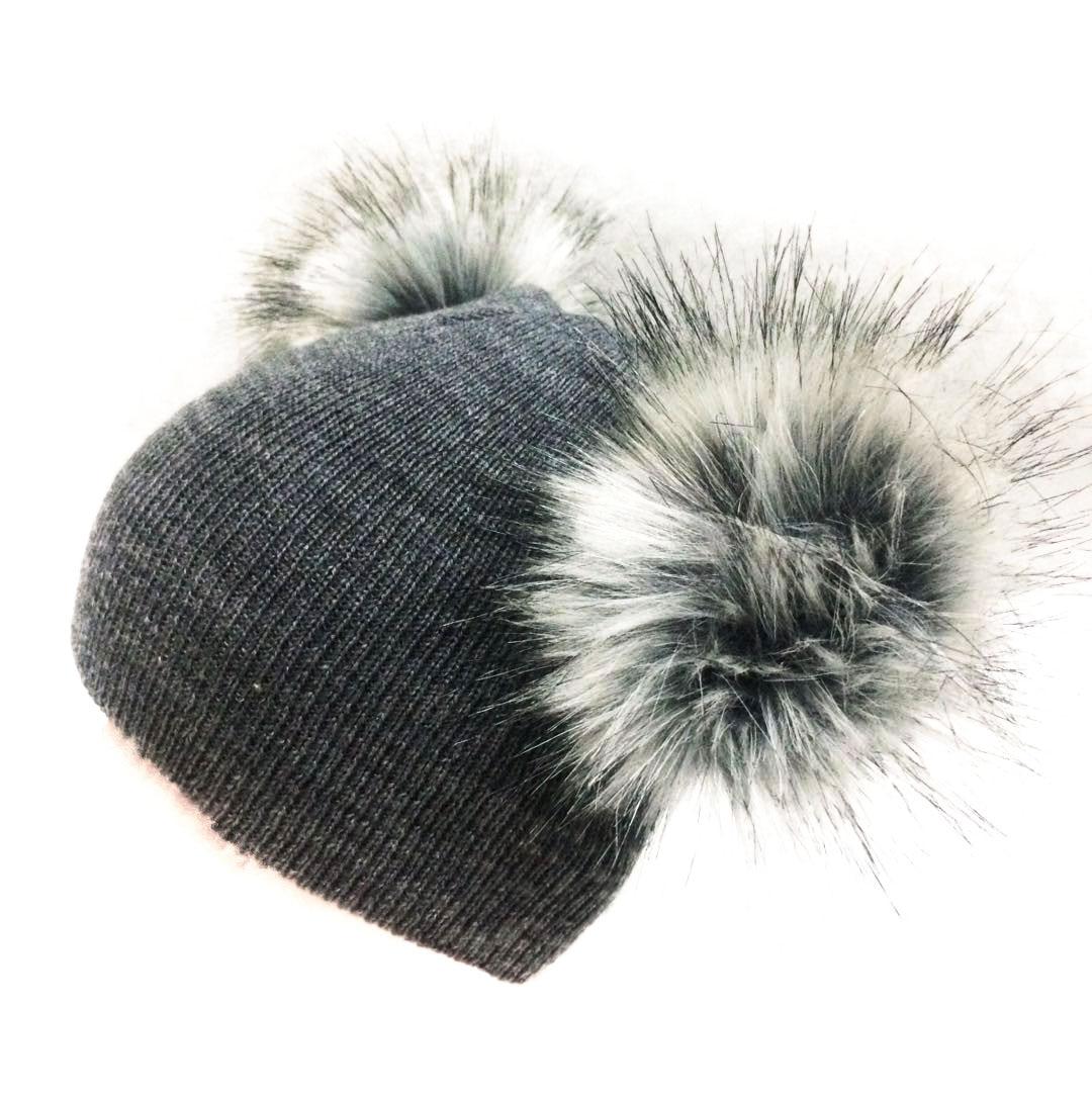 Paraorecchie della protezione dei bambini di inverno infantile bambini appena nati del bambino della pelliccia del faux del cappello di lana beanie con due doppia pom pom per I ragazzi e una ragazza 0-40Y