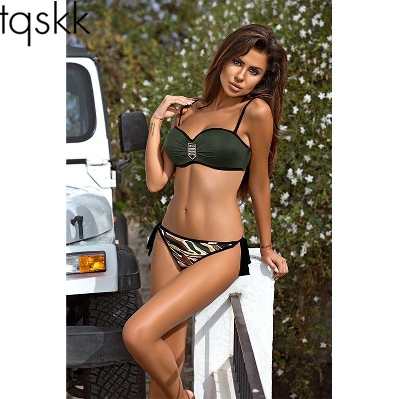 ¡Novedad del 2019! Traje de baño de realce de TQSKK, Bikinis para mujer, conjunto de Bikini femenino de verano, pantalones de camuflaje, trajes de baño, Bikini