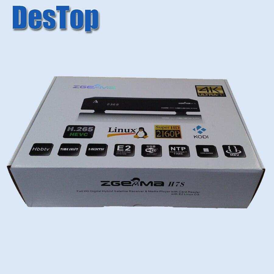 5 шт./лот 4K Linux Enigma 2 Zgemma H7S 2xDVB-S2X + DVB-T2/C HEVC H.265 IPTV 4K спутниковый ресивер быстрый процессор DMIPS 12 000