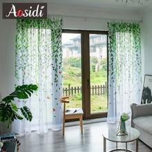 AOSIDI-rideaux en Tulle modernes saule   Pour salon chambre à coucher, Voile imprimé oiseau, rideaux transparents pour fenêtre, rideaux en Tulle, tentures