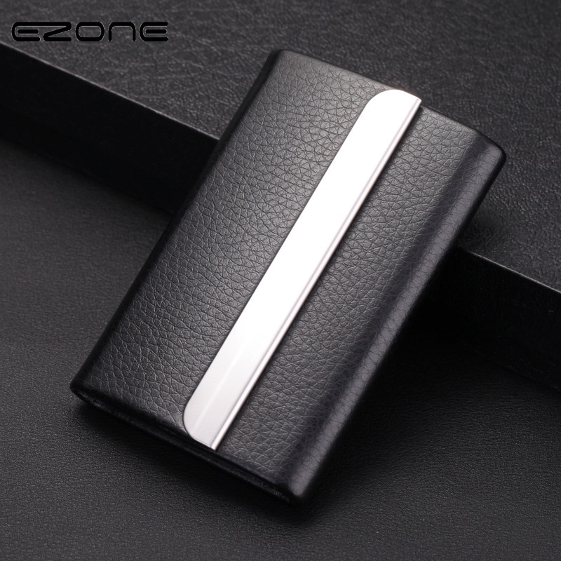 deli business name card box big capacity credit card holder memo pad EZONE New Card Holder Stainless Steel PU Leather Cardcase Big Capacity Business Style Name Card Box Stationery Material Escolar