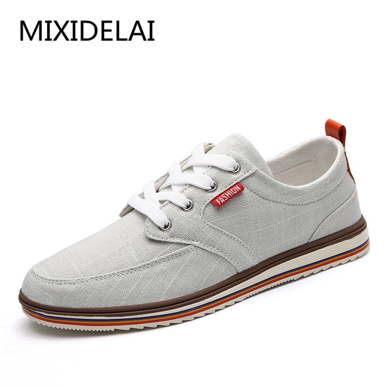 MIXIDELAI Große Größe Männer Casual Schuhe Mode Atmungsaktiv Marke Männlichen Schuhe Große Größe Männer Wohnungen Schuhe Marke Designer Wohnungen Schuhe