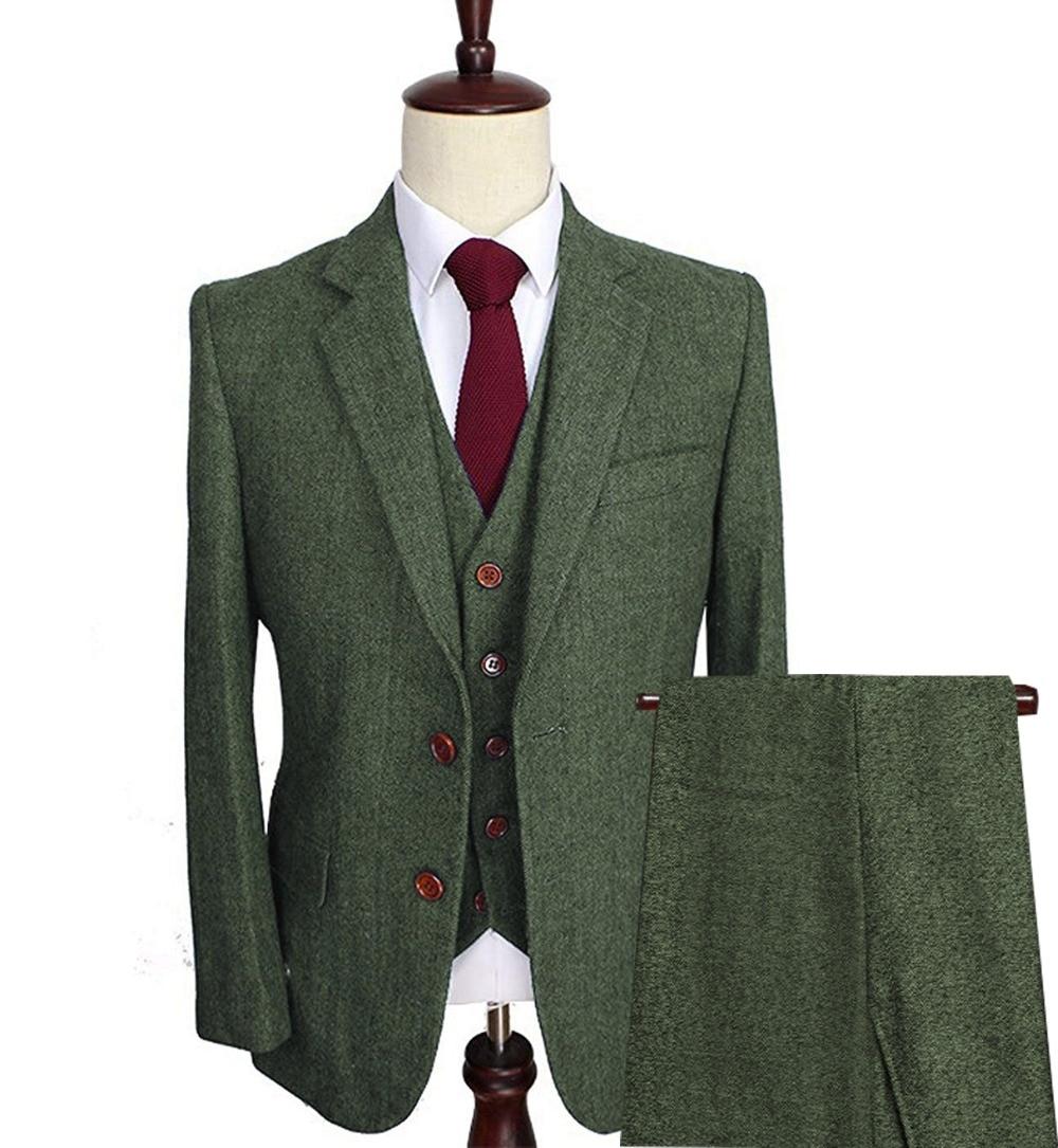 Men's Wool Tweed Suits 3 Pieces Formal Lapel Notch Herringbone Tuxedos Regular size Winter Wedding Groom (Blazer+Vest+Pants)