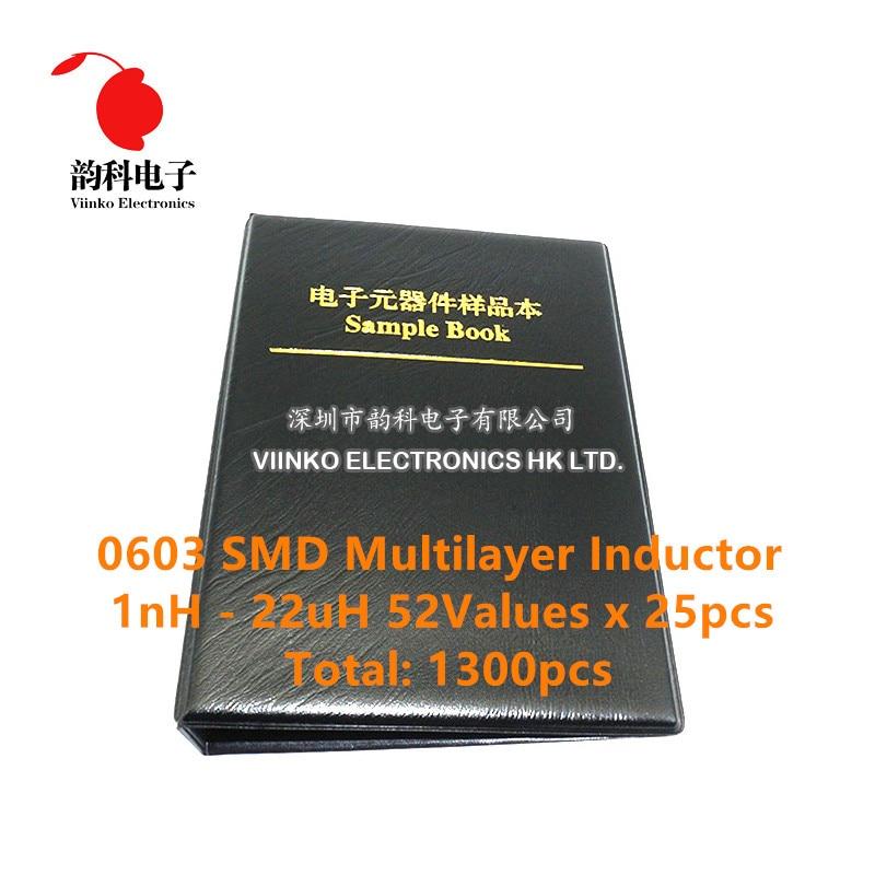0603 SMD многослойный индуктор книга образцов 1nH ~ 22uH 52Valuesx25pcs = 1300 шт Ассорти набор