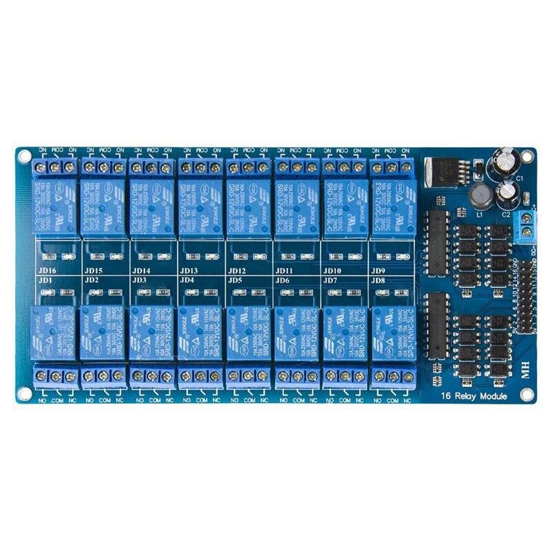 12v 16 canais placa do módulo de relé com optoacoplador proteção lm2576 potência pic avr mcu dsp braço