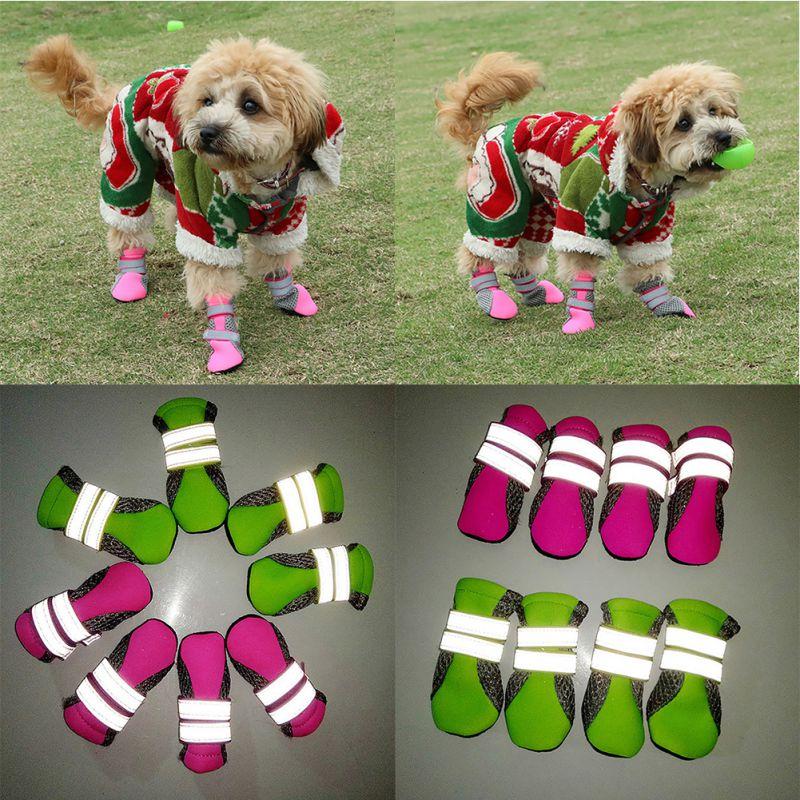 4Pcs/set Reflective Dog Shoes Outdoor Breathable Mesh Pet Shoes Boots Socks Large Dogs Wear resistant Anti-slip Sport Footwear