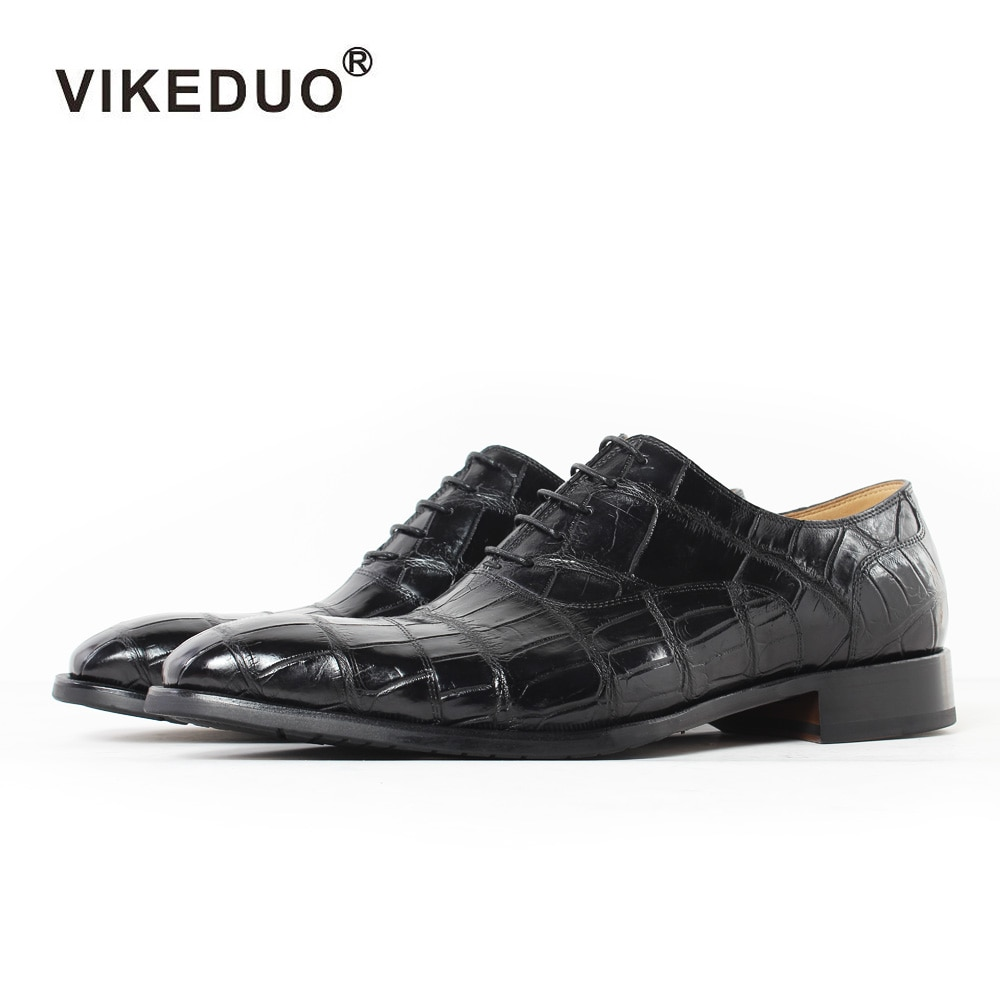Vikeduo 2020 Handmade Italy Crocodile Skin Men's Oxford Shoes Wedding Party Dance Dress Casual Alligator Male Genuine Leather