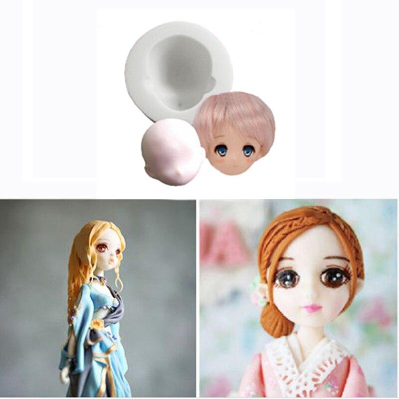 3D Mädchen Prinzessin Gesicht Dame Kopf Kuchen Form Silikon Nette Puppe Gesicht Fondant Mold Puppe Kopf Kuchen Schokolade DIY Decor werkzeug QB972043