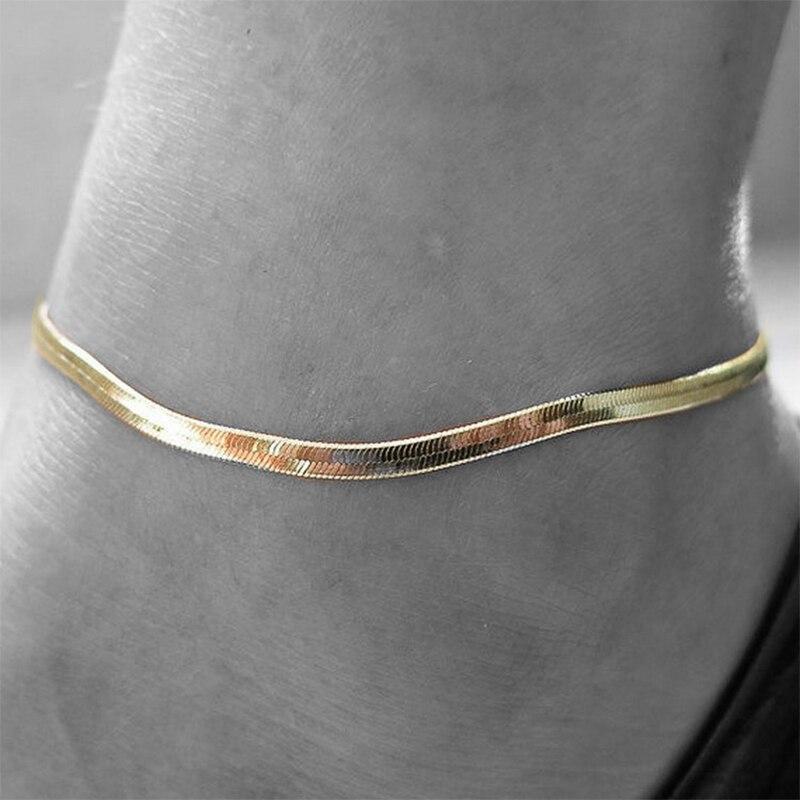 Pulsera de cadena de serpiente elegante Bohemia, tobillera para mujer, pulsera de pie, sandalias descalzas, correa de cadena, Accesorios de playa, joyería para mujer