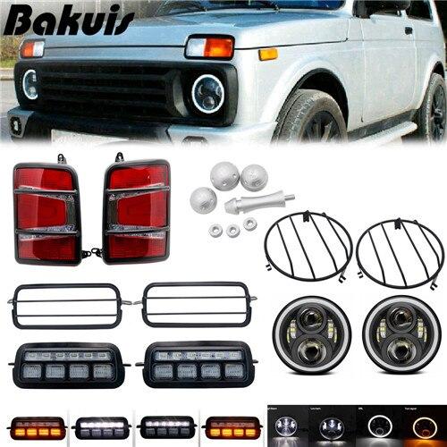 Para Lada Niva 7 pulgadas Led faro Hi/Low Beam luz Halo ángulo ojos DRL faro 1 juego LED luces traseras para Lada Niva 4x4 1995