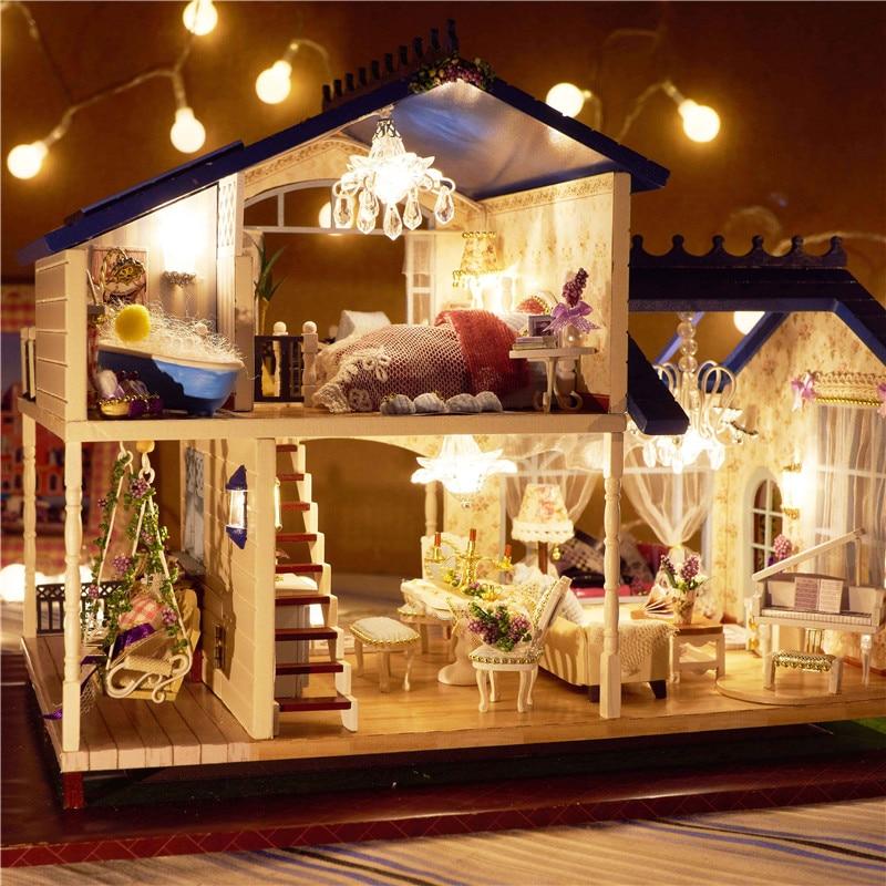 Montage DIY Miniatur Modell Kit Holzpuppenhaus Romantische Provence Haus Spielzeug mit Möbel & Cabrio Geschenk für Mädchen