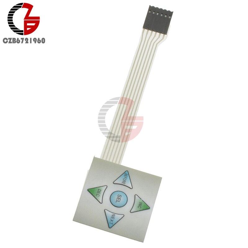 1x5 Matrix Array 5Key Membrane Switch Keypad Keyboard 1*5 Keys Control Panel Plate 40*40mm for Aduino