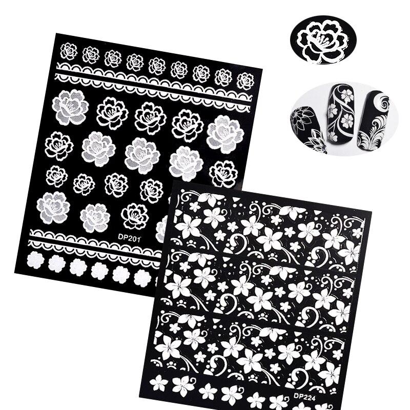 Flores blancas encaje Nail Art Stickers decoraciones tiras 3D Gel Nail Stickers calcomanías autoadhesivas DIY Slider Design manicura