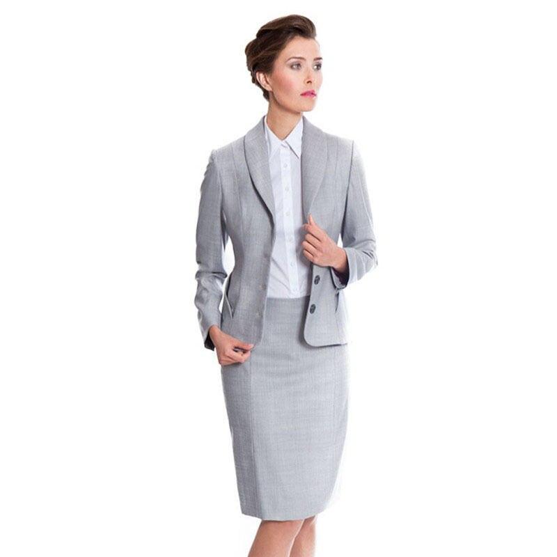 Gris claro profesional mujeres falda traje de verano elegante formal blazerfalda Oficina señoras uniformes B330