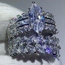 90% Korting Super Deal Prachtige Luxe Sieraden 925 Sterling Zilver Marquise 5A CZ Zirconia Drop Verzending Wedding Bridal Ring Set