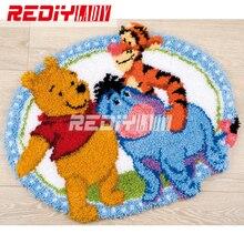 Kits de tapis à crochets en 3D broderies   Tapis à crochetés inachevé, tapis de coussin en fils, tapis de broderie de dessins animés amis, livraison gratuite